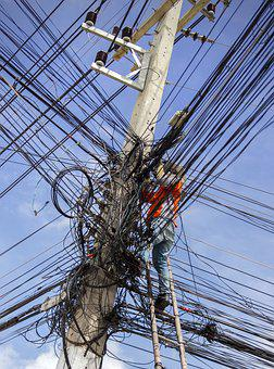 Electrical Cable Mess, Energy, Electricity, Electric