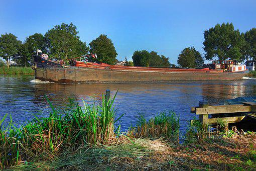 Boat, Freighter, River, Navigate, Shipping, Trade