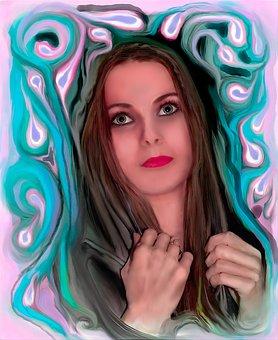 Girl, Painting, Digital Art, Fantasy Portrait