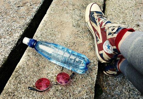 Water Bottle, Glasses, Feet, Legs, Shoes, Sneakers