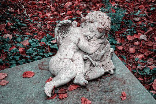 Angel, Cherub, Sculpture, Tombstone, Graveyard