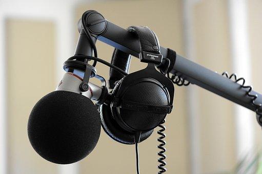 Microphone, Headphones, Studio, Equipment, Music, Sound