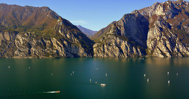 Lake, Landscape, Mountain, Garda, Italy, Boat