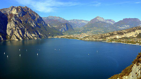 Lake, Landscape, Mountain, Garda, Italy, Boat