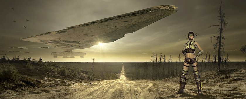 Fantasy, Landscape, Spaceship, Ufo, Flying Object