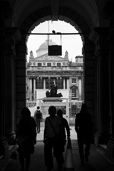 London, People, Monochrome, Somerset House, West End