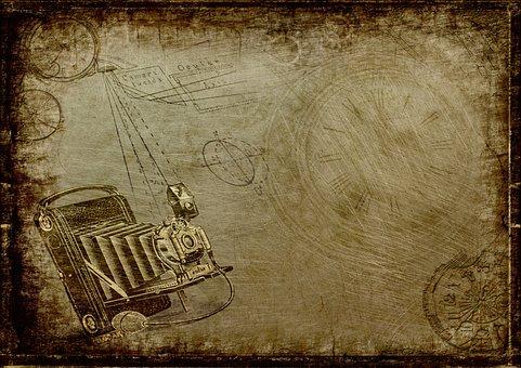 Camera, Steampunk, Clock, Photography, Drawing