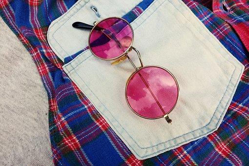 Glasses, Lens, Frame, Eye, Vision, Pink Glasses