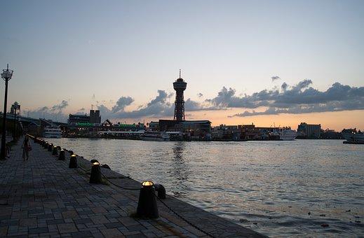 Hakata Bay, Port, Sunset, Landscape, Japan, Fukuoka