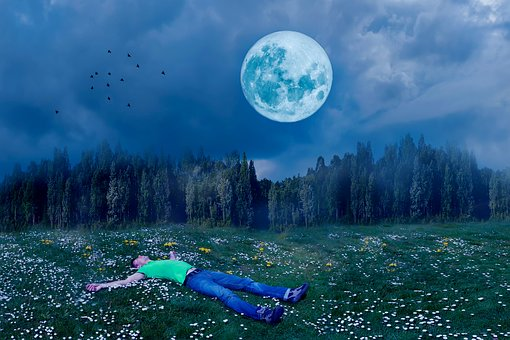 Sleep, Good Night, Man, Person, In The Free, Full Moon