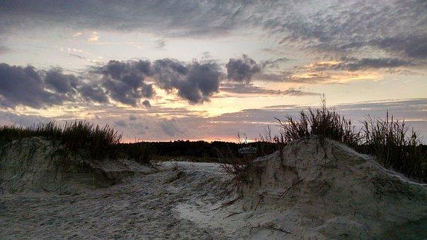Beach, Sunrise, South Carolina, Clouds, Cool