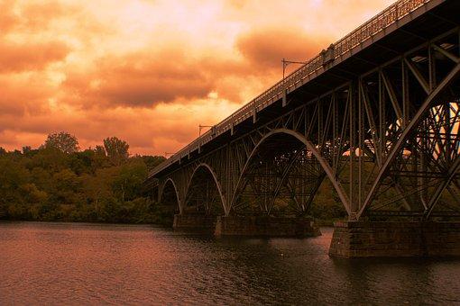 The Iron Bridge, Sunset, River