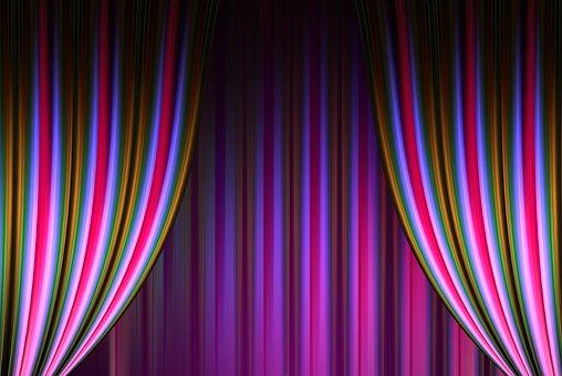 Theater, Cinema, Curtain, Stripes, Pink Purple