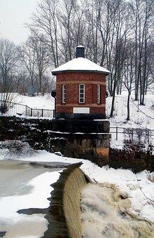 River, Waterfall, Building, Tree, Winter, Snow, Ice