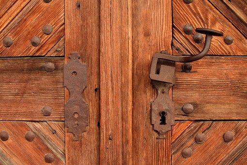 Door, Wooden Door, Old Door, Input, Wrought Iron, Wood