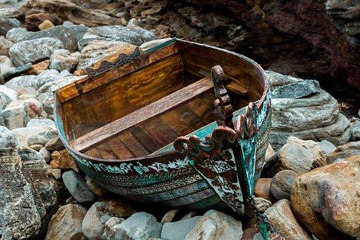 Boat, Abandoned, Sea, Transportation, Shipwreck, Wooden