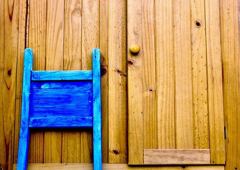 Orange, Blue, Wood, Contrast, Cabinet, Chair, Color