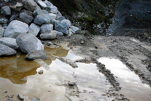 Rock, The Stones, Boulders, Wyrobisko, Wet, Reflection