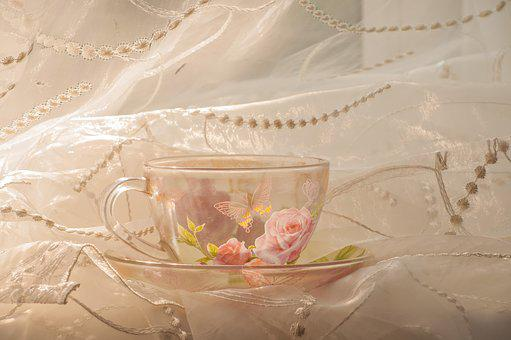 Cup, Curtain, Tulle, Morning