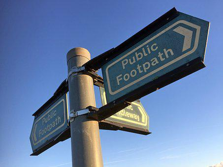 Footpath, Sign, Direction, Path, Way, Walk, Countryside