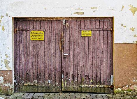Garage Door, Goal, Wooden Gate, Facade, Grunge