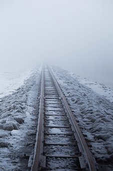 Railway Embankment, Snow, Gleise, Winter