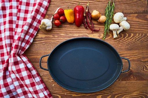 Pan, Tray, Pot, Black, Granite, Kitchen, Food, Garlic