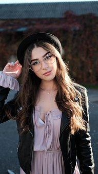 Girl, Glasses, Hat