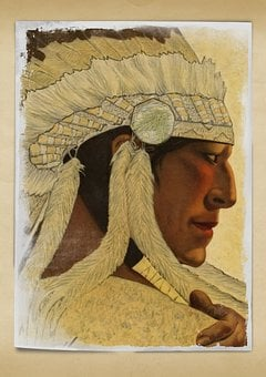 Chief, Indian, Vintage, Headpiece, Beautiful, Male