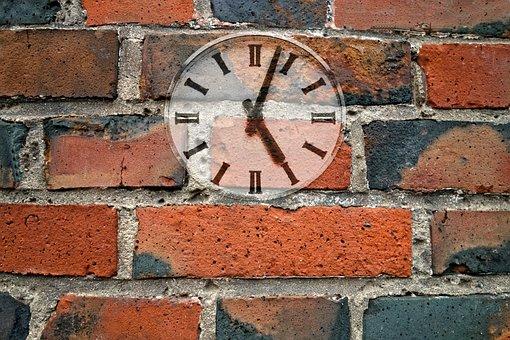 Clock, Wall, Brick Wall, Clock On Wall, Time, Hour