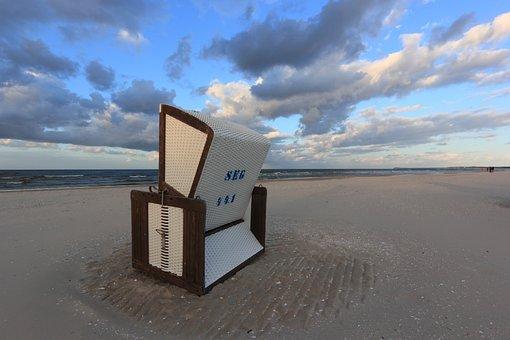 Germany, Karlshagen, Beach, Evening, Chair