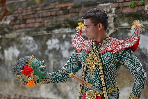 Khon, Ramayana, Siam, Dressed Up, Mask, Show, Puppet