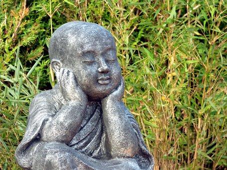 Monk, Meditation, Wisdom, Buddhism, Zen, Statuette