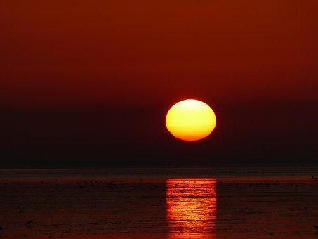 Sunset, North Sea, Nordfriesland, Norden-norddeich