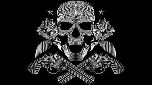 Skull, Pirate, Gun, Roses