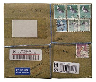 Package, Par Avion, Stamps, Post Office