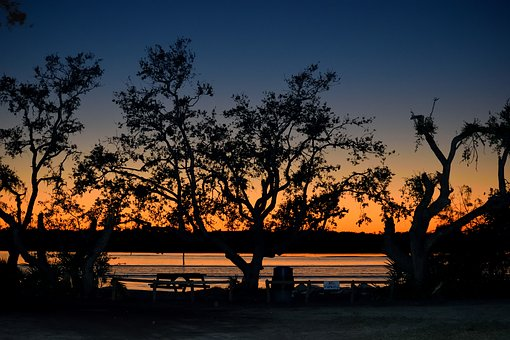 River Front, Sunset, Silhouette, Nature, North Beach