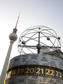 Tv Tower, World Clock, Alex, Alexanderplatz, Berlin
