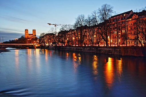 Munich, Isar, Night, River, Water, Bavaria, Germany