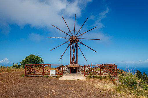 Windmill, Canary Islands, La Palma, Sea, Island