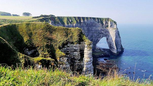 France, Normandy, Coast, Cliff, Beach