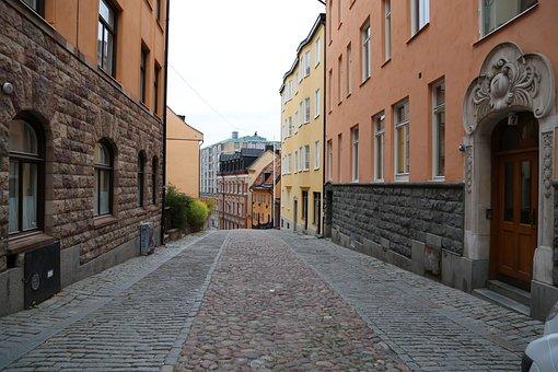 City, Cobblestone, Street, Stockholm