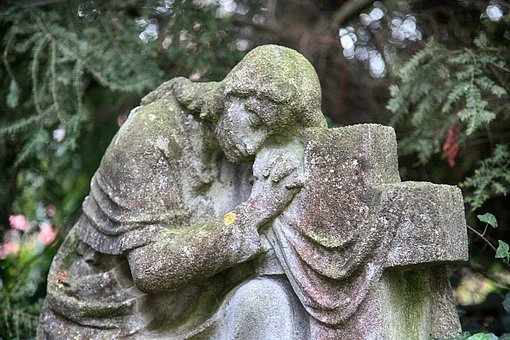 Mourning, Kneeling, Cross, Sculpture, Hope, Prayer