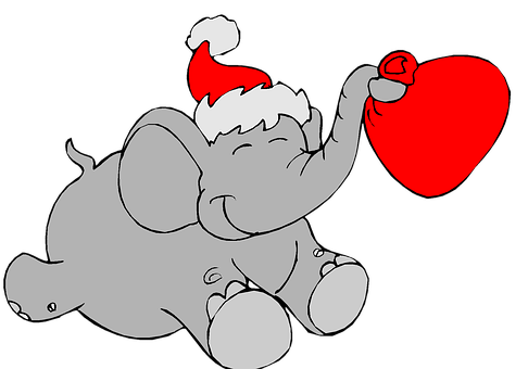 Christmas, Holiday, Clip Art, Elephant, Heart, Love