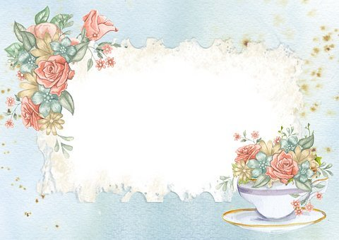 Frame, Background, Romantic, Card, Tea, Cup, Floral