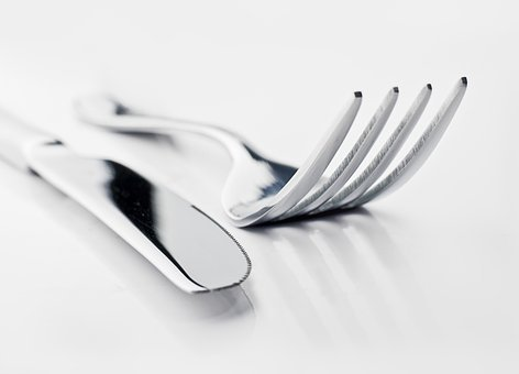 Knife And Fork, Table, Restaurant, Set, Lunch, Isolated