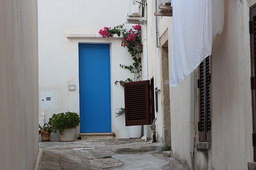 Door, Blue, White, Otranto, Puglia, Salento, Italy