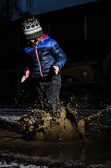 Puddle, Child, Winter, Inject, Drop Of Water, Jump, Wet