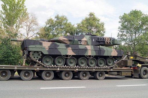 Tank, Leopard, Trailer, Army, Lowbed Trailer, Defense