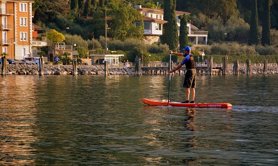 Row, Feet, Boat, Water, Costa, Lake, Garda, Italy